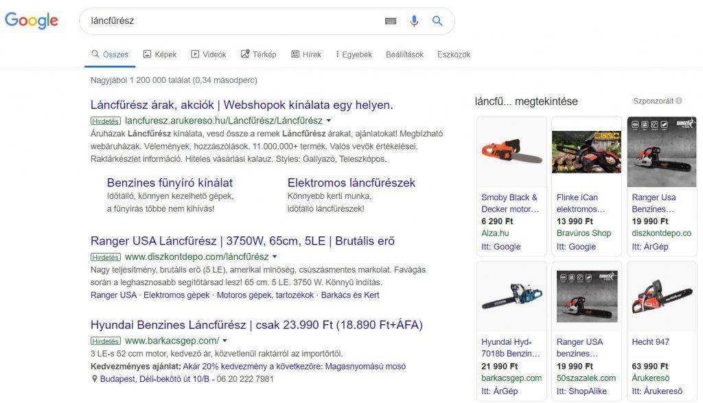 Google Shopping hirdetések kép